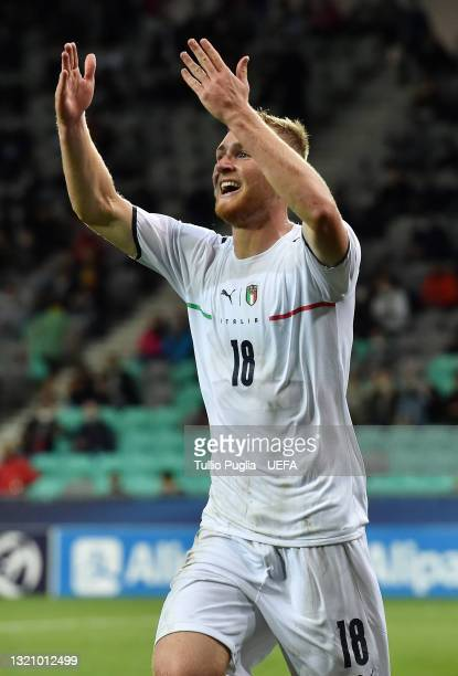 Tommaso Pobega of Italy celebrates after scoring their side's first goal during the 2021 UEFA European Under-21 Championship Quarter-finals match...