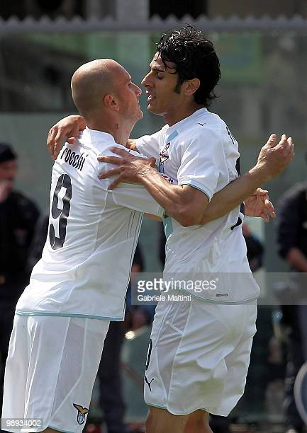 Tommaso Rocchi and Sergio Floccari of SS Lazio celebrate a goal for their team during the Serie A match between AS Livorno Calcio and SS Lazio at...