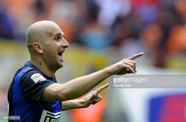 Tommaso Rocchi of FC Inter celebrates scoring the first goal during the Serie A match between FC Internazionale Milano and Parma FC at San Siro...