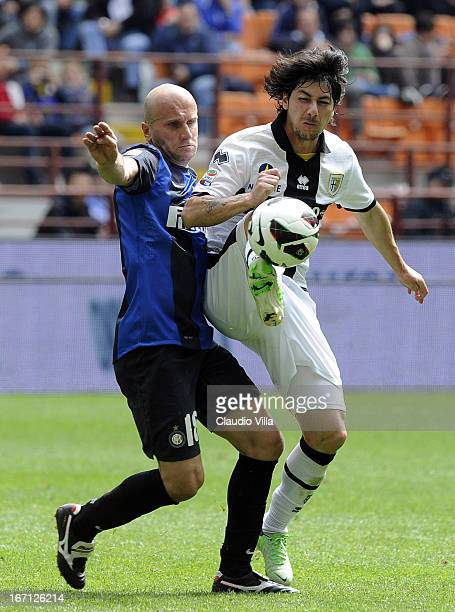 Tommaso Rocchi of FC Inter Milan and Jaime Valdes of Parma FC compete for the ball during the Serie A match between FC Internazionale Milano and...