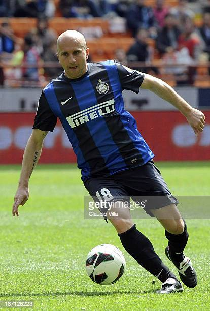 Tommaso Rocchi of FC Inter Milan in action during the Serie A match between FC Internazionale Milano and Parma FC at San Siro Stadium on April 21,...