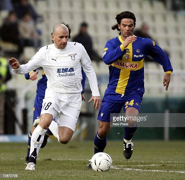 Tommaso Rocchi of Lazio against Fernando Couto of Parma during the Italian Serie A match between Parma and Lazio on December 23 2006 at the Stadio...