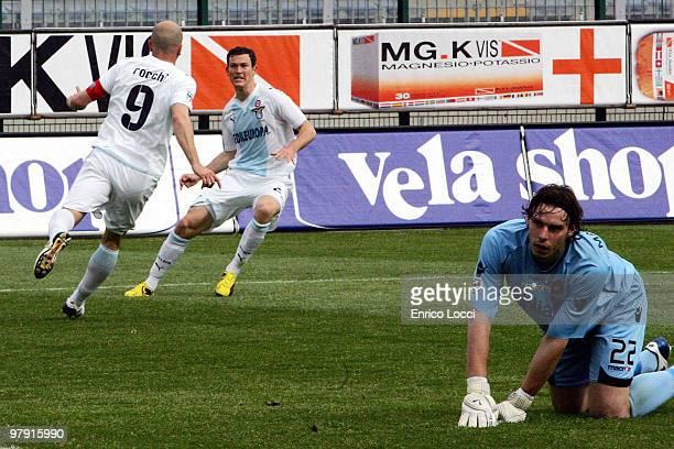 Tommaso Rocchi of Lazio celebrates the goal during the Serie A match between Cagliari Calcio and SS Lazio at Stadio Sant'Elia on March 21, 2010 in...