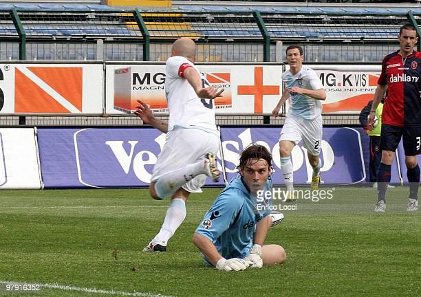 Tommaso Rocchi of Lazio celebrates their goal during the Serie A match between Cagliari Calcio and SS Lazio at Stadio Sant'Elia on March 21, 2010 in...