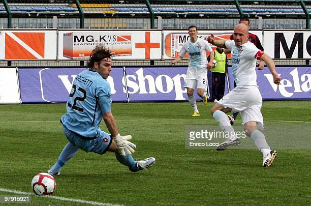 Tommaso Rocchi of Lazio scores the opening goal during the Serie A match between Cagliari Calcio and SS Lazio at Stadio Sant'Elia on March 21 2010 in...