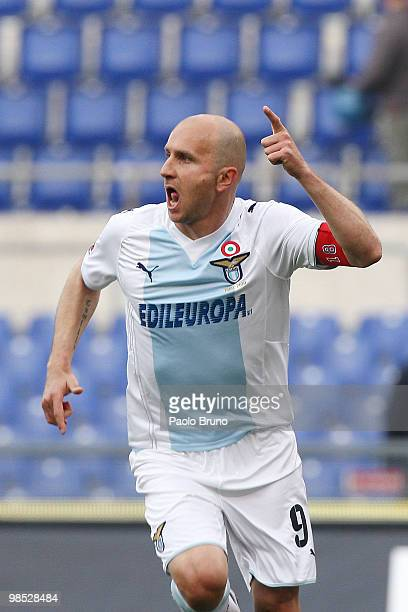 Tommaso Rocchi of SS Lazio celebrates after scoring the opening goal during the Serie A match between SS Lazio and AS Roma at Stadio Olimpico on...