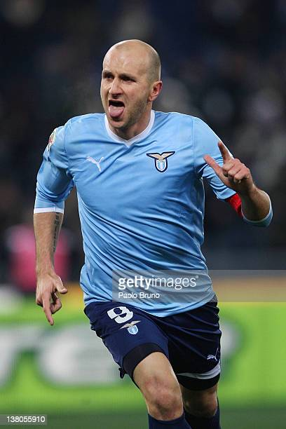 Tommaso Rocchi of SS Lazio celebrates after scoring the second goal during the Serie A match between SS Lazio and AC Milan at Stadio Olimpico on...