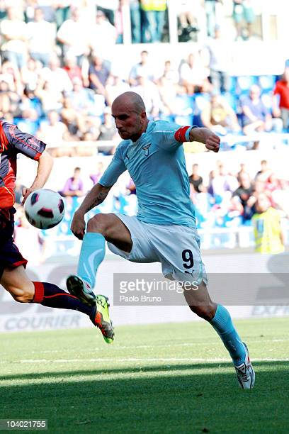 Tommaso Rocchi of SS Lazio scores the second goal during the Serie A match between Lazio and Bologna at Stadio Olimpico on September 12, 2010 in...