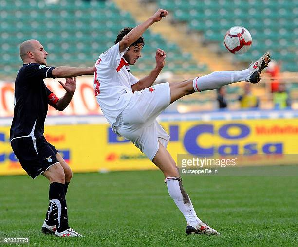 Tommaso Rocchi SS Lazio and Andrea Ranocchia AS Bari in action during the Serie A match between Bari and Lazio at Stadio San Nicola on October 25,...