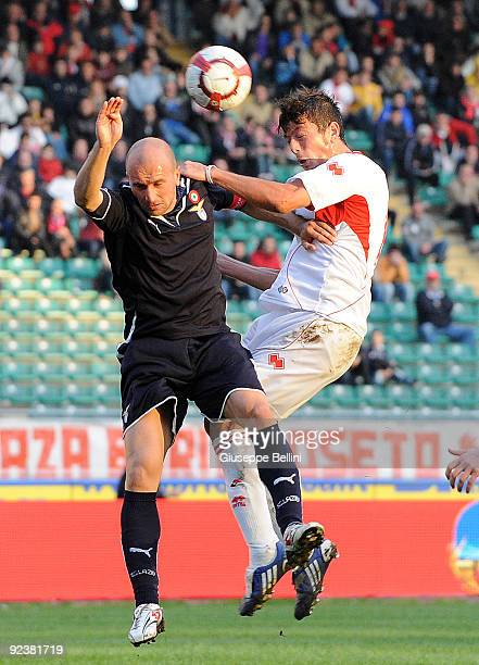 Tommaso Rocchi SS Lazio and Massimo Donati AS Bari in action during the Serie A match between AS Bari and SS Lazio at Stadio San Nicola on October...
