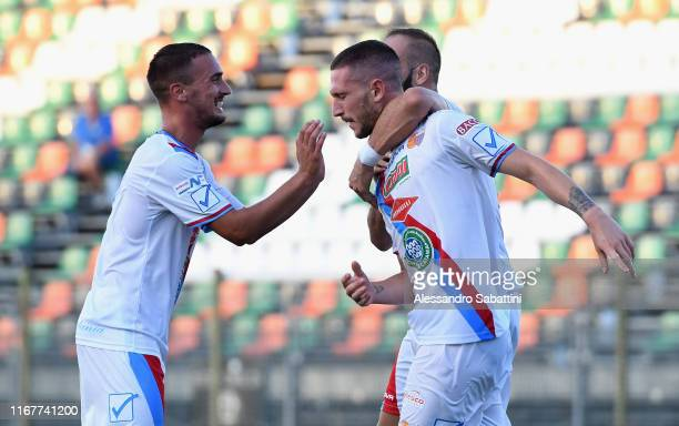 Tommaso Silvestri of Catania celebrates after scoring the 1-1 goal during the TIM Cup Match between Venezia FC and Catania at Stadio Pierluigi Penzo...