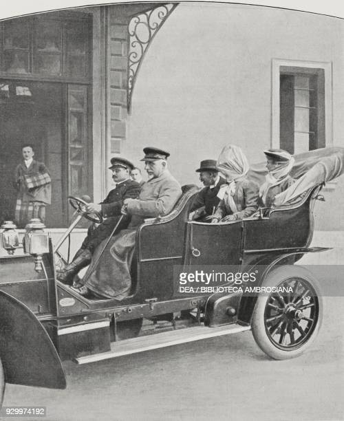 Tommaso Tittoni, Italian foreign minister, and Heinrich von Tschirschky, German foreign minister, in a car, October 21 Rome, Italy, photograph by...