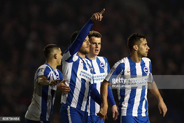 Tommer Hemed of Brighton Hove Albion celebrates scoring during the Sky Bet Championship match between Brighton Hove Albion and Leeds United at Amex...