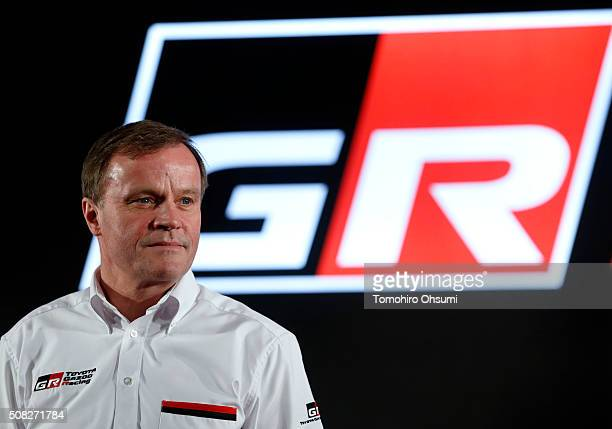 Tommi Makinen head of Toyota Motor Corp's World Rally Championship project sttends a press conference on February 4 2016 in Tokyo Japan Toyota...