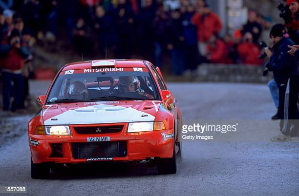 Tommi Makinen of Finaland races the Mitsubishi Lancer during the World Rally Championships in Monte Carlo Monaco Picture Germano Gritti Mandatory...