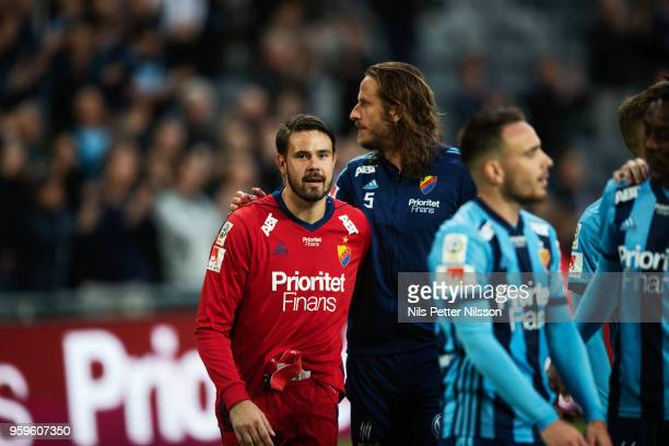 Tommi Vaiho of Djurgardens IF celebrates after the victory during the Allsvenskan match between Djurgardens IF and Orebro SK at Tele2 Arena on May 17...