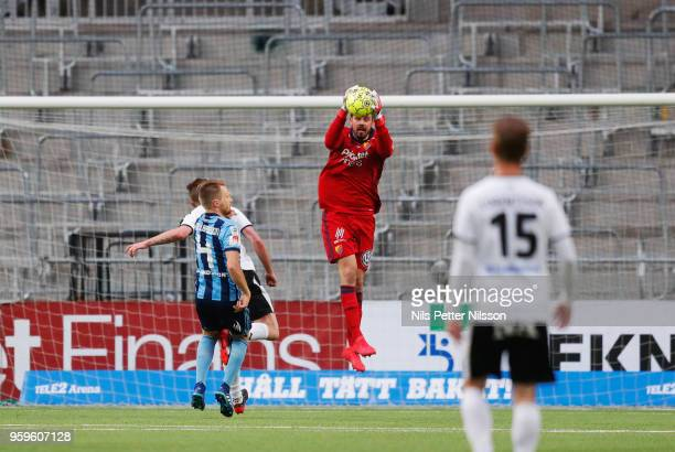Tommi Vaiho of Djurgardens IF makes a save during the Allsvenskan match between Djurgardens IF and Orebro SK at Tele2 Arena on May 17 2018 in...
