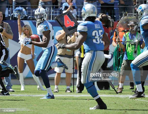 Tommie Campbell of the Tennessee Titans carries the ball for a touchdown against the Detroit Lions at LP Field on September 23 2012 in Nashville...