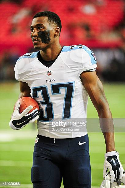 Tommie Campbell of the Tennessee Titans walks on the field during warm ups prior to a preseason game against the Atlanta Falcons at the Georgia Dome...
