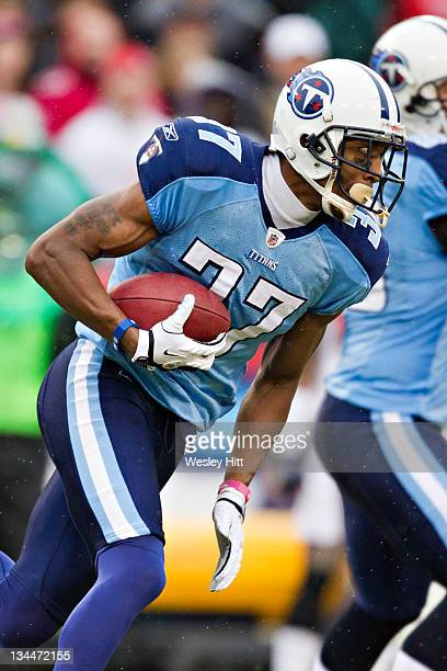 Tommie Campbell of the Tennessee Titans warms up before a game against the Tampa Bay Buccaneers at LP Field on November 27 2011 in Nashville...