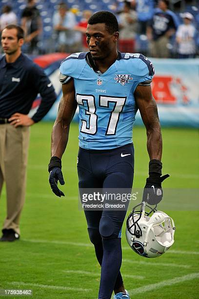 Tommie Campbell of the Tennessee Titans warms up prior to a preseason game against the Washington Redskins at LP Field on August 8 2013 in Nashville...