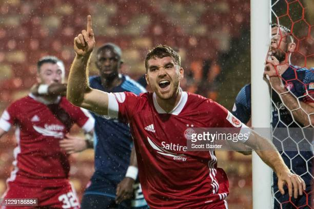 Tommie Hoban of Aberdeen celebrates during the Ladbrokes Premiership match between Aberdeen and Hamilton at Pittodrie Stadium on October 20 2020 in...