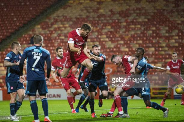 Tommie Hoban of Aberdeen scores during the Ladbrokes Premiership match between Aberdeen and Hamilton at Pittodrie Stadium on October 20 2020 in...