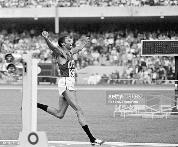 Tommie Smith of the United States winning the 200 metres event during the Summer Olympic Games in Mexico City, circa October 1968.