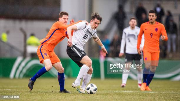 Tommie Van De Lool of Netherlands and Adrian Fein of Germany in action during the Under 19 Euro Qualifier between Germany and Netherlands on March 27...