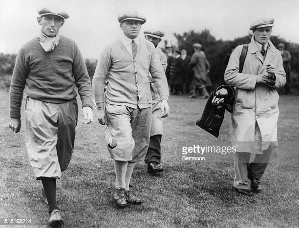 Tommy Armour J Jolly and a caddy at Carnoustie where Armour won the British Open