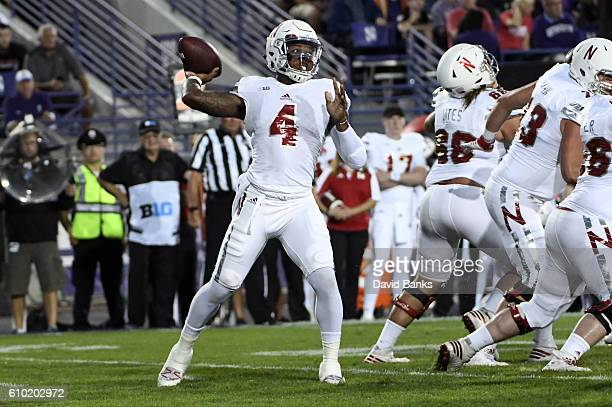 Tommy Armstrong Jr #4 of the Nebraska Cornhuskers throws against the Northwestern Wildcats during the first half on September 24 2016 at Ryan Field...