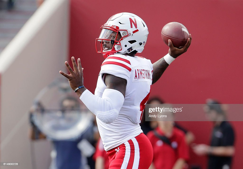 Tommy Armstrong Jr #4 of the Nebraska Cornhuskers throws a pass during the game aganst the Indiana Hoosiers at Memorial Stadium on October 15, 2016 in Bloomington, Indiana.