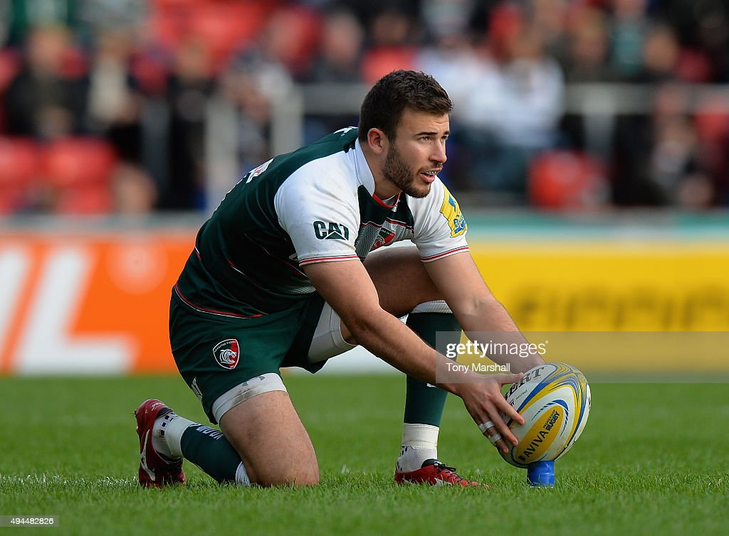 Tommy Bell of Leicester Tigers lines up a kick during the Aviva Premiership match between Leicester Tigers and Harlequins at Welford Road on October 25, 2015 in Leicester, England.