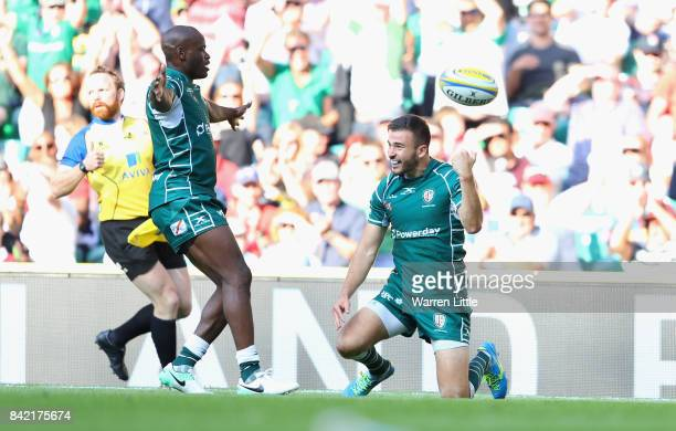 Tommy Bell of London Irish celebrates after scoring their second try during the Aviva Premiership match between London Irish and Harlequins at...