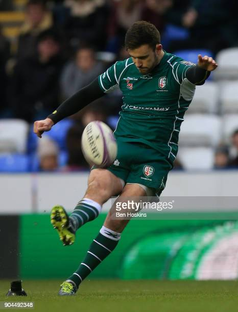 Tommy Bell of London Irish kicks a conversion during the European Rugby Challenge Cup between London Irish and Krasny Yar on January 13 2018 in...