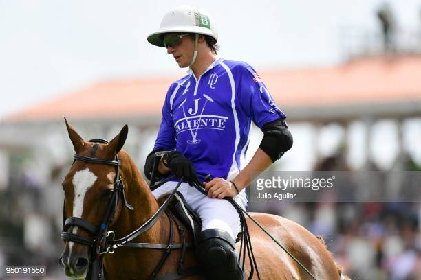Tommy Beresford of Valiente looks on during a penalty hit by The Daily Racing Form in the US Open Polo Championship April 22 2018 in Wellington...