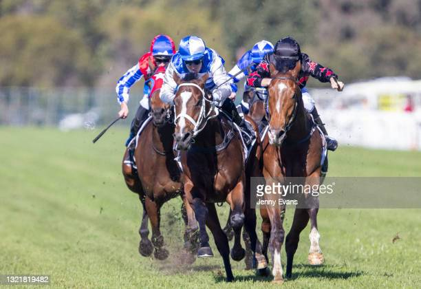 Tommy Berry on Cape Breton wins race 1 the Bowermans Commercial Furniture Handicap during Sydney Racing at Rosehill Gardens on June 05, 2021 in...