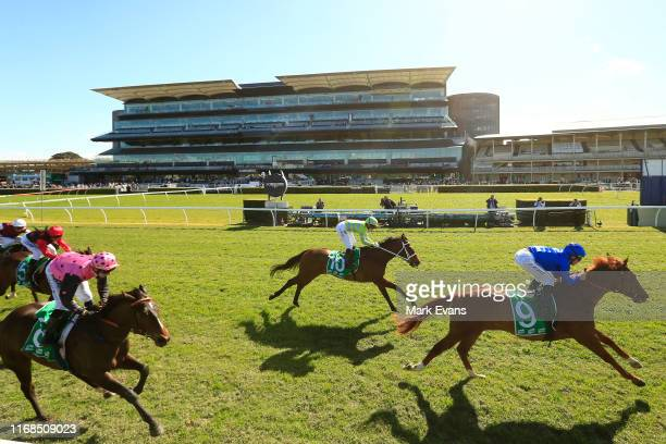 Tommy Berry on Pandemic wins race 3 the Everest Carnival Handicap during Sydney Racing on the Kensington track at Royal Randwick Racecourse on August...