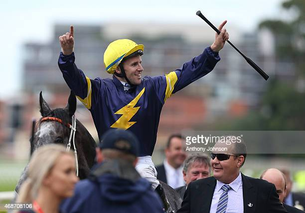 Tommy Berry returns on Chautauqua after winning race 8, The Darley T J Smith Stakes, during Sydney Racing at Royal Randwick Racecourse on April 6,...