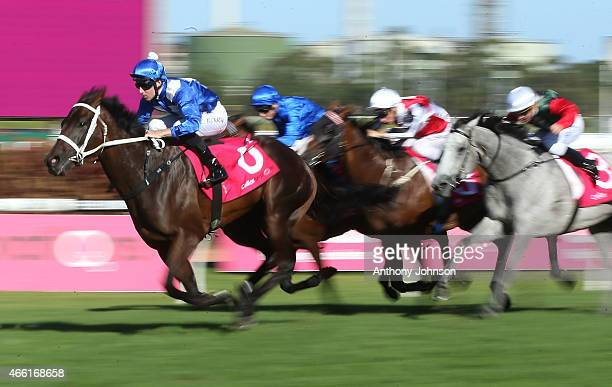 Tommy Berry rides Winx to win race 8 The Phar Lap Stakes during Sydney Racing at Rosehill Gardens on March 14 2015 in Sydney Australia