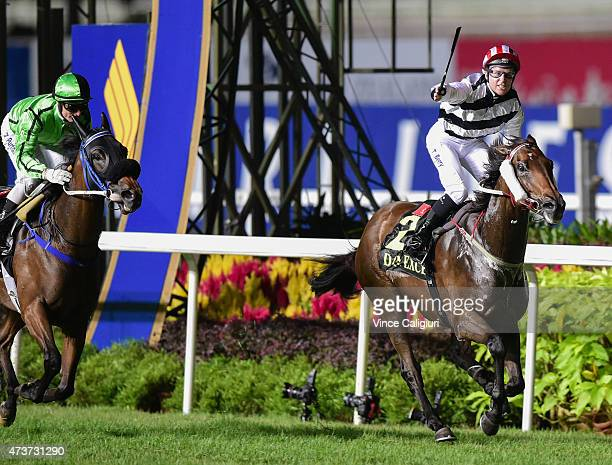 Tommy Berry riding Dan Excel reacts after winning Race 10 the Singapore Airlines International Cup on Singapore International Airlines Cup Day at...