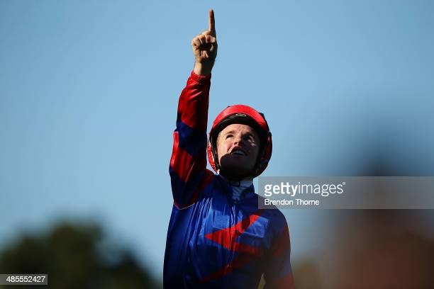 Tommy Berry riding Diamond Drille celebrates after winning race 5, Cellarbrations Queen of the Turf Stakes during Day Two of The Championships at...