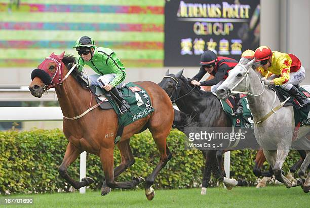 Tommy Berry riding Military Attack winning the Audemars Piguet Queen Elizabeth II during Audemars Piguet Queen Elizabeth II race meeting at Sha Tin...