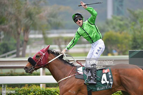 Tommy Berry riding Military Attack wins the Audemars Piguet Queen Elizabeth II during Audemars Piguet Queen Elizabeth II race meeting at Sha Tin...