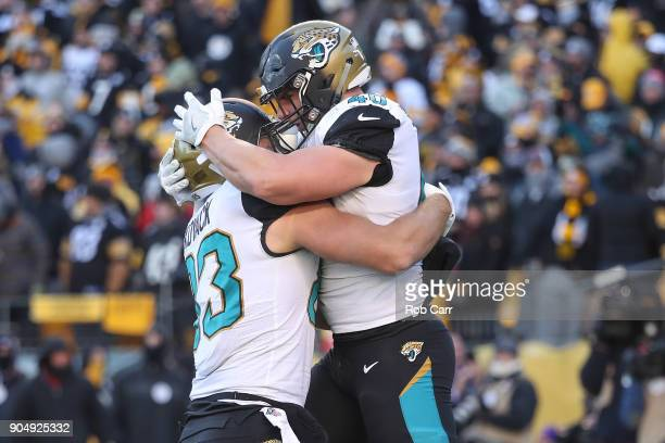 Tommy Bohanon of the Jacksonville Jaguars celebrates with Ben Koyack after a touchdown against the Pittsburgh Steelers during the second half of the...