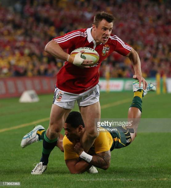 Tommy Bowe of the Lions is tackled by Joe Tomane during the International Test match between the Australian Wallabies and British Irish Lions at ANZ...
