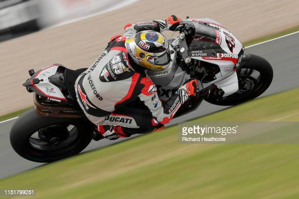 Tommy Bridewell in action during the Bennetts British Superbike Championship at Donington Park on May 26, 2019 in Castle Donington, England.