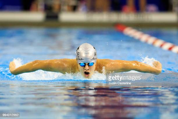Tommy Bried competes in the men's 200m butterfly prelims at the 2018 TYR Pro Series on July 8 2018 in Columbus Ohio