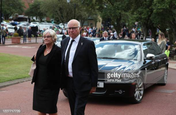 Tommy Charlton brother of Jack Charlton arrives at West Road Crematorium on July 21 2020 in Newcastle England John Charlton was part of the England...