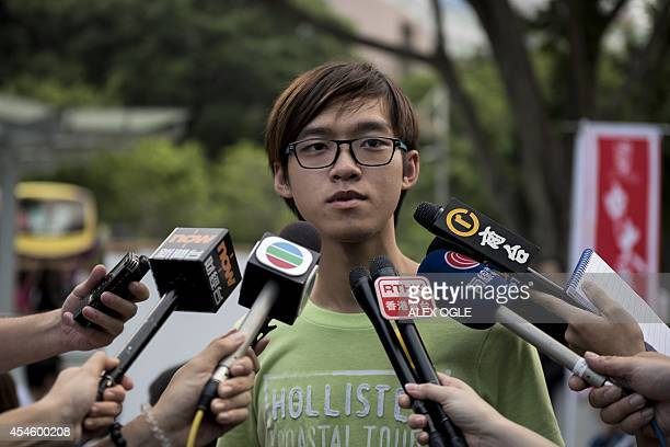 Tommy Cheung, president of the Chinese University of Hong Kong student union, talks to the media ahead of a meeting to discuss a possible student...